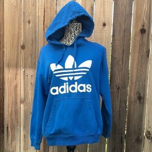 Adidas Faded Streifen Stripes Blue Hooded Sweater